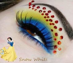 Snow White inspired eye makeup. Image originally comes from a FB page called Disneyland for Misfits