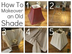 How to repurpose an old lampshade with dropcloth fabric strips! Easy DIY project.