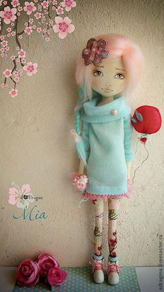 Купить Mia - бирюзовый, розовый, авторская кукла, текстильная кукла, девочка, бязь, натуральная кожа