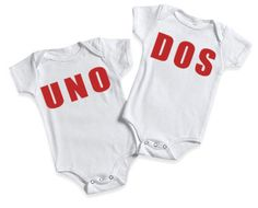 Funny Baby Onesie for Twins Baby  Onesie Bodysuits Twins Numero Uno and Numero Dos