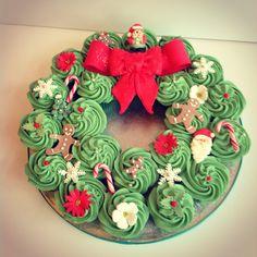 Cupcake Christmas Wreath made to order at Candy Cupcake 0131-446-0907 :) www.candycupcake.co.uk www.facebook.com/candycupcakeedinburgh