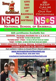 Give the Gift of Baseball & Softball! Special Day-Time hours while school is out! Dec 21st-24th & Dec. 28th- 31st.