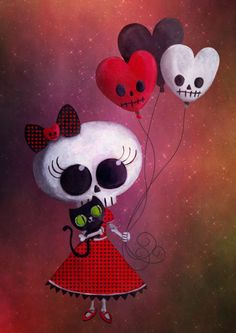 Little Miss Death Valentine scull Girl with balloons Post Card Art And Illustration, Halloween Illustration, Wallpaper Caveira, Day Of The Dead Art, Geniale Tattoos, Sugar Skull Art, Sugar Skulls, Wow Art, Creepy Cute