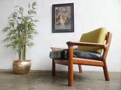 Vtg 60s 70s Retro Mid Century Danish Glostrup Teak Leather Armchair Lounge Chair