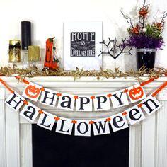 Fall Decorations Happy Halloween Banner Halloween by BannerCheerJR