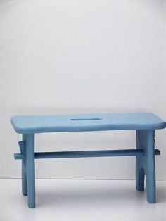 Stolček modrý Upstairs Bathrooms, Vanity Bench, Entryway Bench, Stool, Blue, Fern, Turntable, Furniture, Home Decor