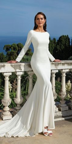 Justin Alexander Bridal 88133 Clean Crepe Long Sleeve Fit and Flare gown Modest Wedding Dresses With Sleeves, Long Wedding Dresses, Elegant Wedding Dress, Modest Dresses, Wedding Gowns, Allure Bridal, Fit And Flare, Bridal Gowns, Marie