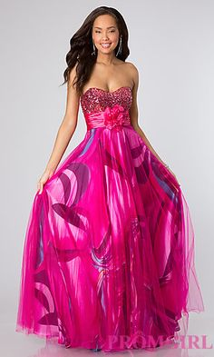 ANGIE...Strapless Print Prom Dress at PromGirl.com