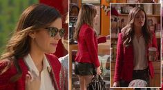 Zoe's red tweed blazer, leather shorts and sunglasses on Hart of Dixie.  Outfit Details: http://wornontv.net/8852/ #HartofDixie