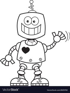Cartoon smiling robot vector image on VectorStock Pattern Coloring Pages, Coloring Book Pages, Robots For Kids, Art For Kids, Old Lady Cartoon, Robot Picture, Coloring Pictures For Kids, Robots Drawing, Boy Printable