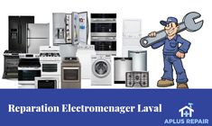 APlus Repair is the leading company to offer appliance repair & installation services in Montreal. Frigidaire, Laval, Mechanic Tools, Appliance Repair, Montreal Quebec, Service, Home Appliances, Logos, Ideas