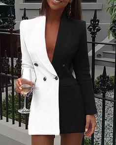 New party dress long sleeve V-neck Colorblock Patchwork Blazer Dress f – menstights Trend Fashion, Suit Fashion, Fashion Dresses, Womens Fashion, Style Fashion, Blazer Fashion, Emo Fashion, Latest Fashion, Frack