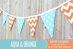 Aqua Dot and Orange Chevron Fabric Pennant Bunting Banner - great for birthday party decor, nursery, playroom, photo prop Bicycle Birthday Parties, Bicycle Party, Birthday Party Decorations, Moms 50th Birthday, Baby Boy Birthday, Birthday Ideas, Diy Banner, Bunting Banner, Buntings