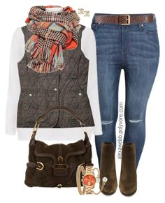 """""""Plus Size Field Vest"""" by alexawebb ❤ liked on Polyvore featuring H&M, Via Spiga, Jimmy Choo, Blue Nile, Kate Spade, Mestige, women's clothing, women, female and woman"""