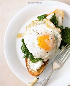 egg, kale and ricotta on toast Again in the Power Foods cookbook. It is soo fast and easy morning. You can do egg and kale in one pan so not a big mess in am, tastes great and gives you all you need (the kale makes my fridge smell bad though no matter how tight I tie it up :(