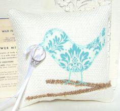 Love Bird Ring Bearer Pillow Modern Aqua by vintagegreenlimited, $36.00