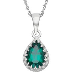 Lab-Created Emerald Sterling Silver Pendant, Green (One Size) - Womens... ($75) ❤ liked on Polyvore featuring jewelry, pendants, sterling silver charms pendants, emerald pendant, emerald jewelry, sterling silver pendants and charm pendant