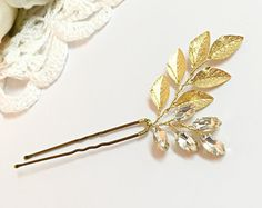 Pearl crystals Vine Bridal Hair Pin Ivory Cream by Element4you