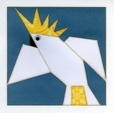 Sulphur Crested Cockatoo from a quilt pattern by Margaret Rolfe. Adapted by Michaela Laurie from Paper Quilt Creations. Barn Quilt Designs, Quilting Designs, Paper Quilt, Cockatoo, Quilt Patterns, Quilts, Room, Ideas, Art
