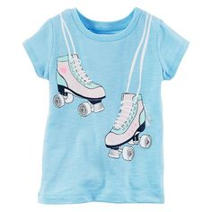 Girls 4-6x Carter's Roller Skates Graphic Tee, Girl's, Size: 6X, Light Blue
