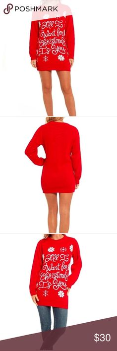 Holiday Tunic Size XXL. Color is red an white, wear it as a dress or with jeans or leggings. Cable knitted with high quality 100% acrylic Tops Tunics