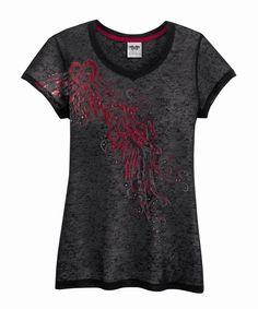 Harley-Davidson® Womens Rhinestone Heart & Wings Tissue Weight V-Neck Black Short Sleeve T-Shirt
