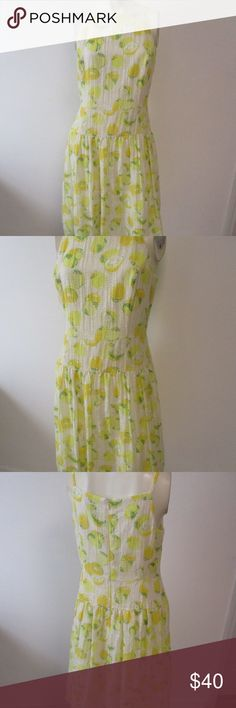 "Ann Taylor Loft Yellow Green Lemon Lime Dress 8P Beautiful spring/summer dress from Ann Taylor Loft petite     Size 8P     Yellow and white lemon and lime pattern     Zips in the back     Full skirt     Rayon/nylon with polyester lining     Excellent condition     Bust- 18.5"" laid flat  Waist- 33""  Hips- 48""  Length- 39"" Ann Taylor Dresses"