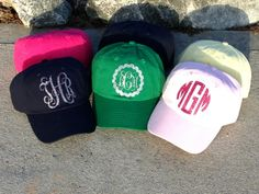 Whether your having a bad hair day, working out, or just love baseball caps, our glitter monogram caps definitely add statement to your wardrobe! And with 31 color options there's something for everyone!  Choose cap color, along with, circle or fancy font (with or without scallop frame). Pleas...