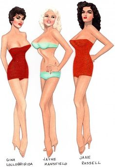 Gina Lollobrigida, Jayne Mansfield and Jane Russell paper dolls by Gregg Nystrom / facebook
