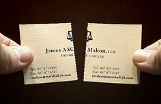 Tearable Divorce Lawyer Business Card Notice that the card has contact information on both sides.