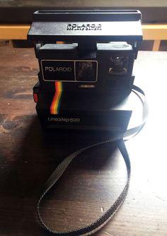 Vintage Polaroid 600 One Step Flash RAINBOW Stripe Instant Film Camera #Polaroid