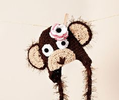 Brown Monkey Earflap Hat/Baby Photo Prop by thewhimsicalelephant, $35.00