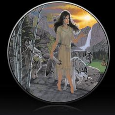 Indian Girl and Wolves Spare Tire Cover Michael Matherly©-Custom made to your exact tire size - 315/70r17