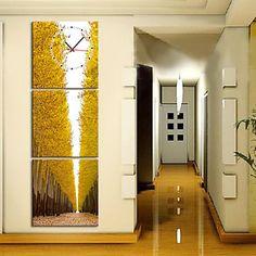 Artistic Trees Scenic Wall Clock In Canvas 3pcs – USD $ 39.99