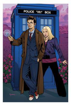 Doctor and Rose by KellyYates on DeviantArt Doctor Who 10, Doctor Who Fan Art, 13th Doctor, Eleventh Doctor, Best Sci Fi Shows, Terry Pratchett Discworld, Rose And The Doctor, Doctor Who Companions, Rose Tyler
