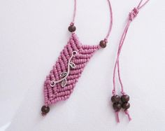 Items similar to CÉU . Macrame Pendant Necklace . blue, grey, white on Etsy