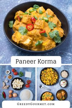 Paneer korma is a thick and creamy #curry made from #Indian cheese and korma curry paste. This #vegetarian dish uses paneer, coconut, cashew nuts and cream. You will have to read it to see how easy it is to make!  #indianfood #paneerkorma Vegetarian Dish, Vegetarian Appetizers, Vegetarian Breakfast, Vegan Dishes, Vegetarian Recipes, Gourmet Recipes, Indian Food Recipes, Healthy Recipes, Ethnic Recipes