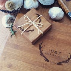 Custom engraved cutting board and coasters gift set :) From Wood Be Mine: http://woodbemine.etsy.com  Wood Be Mine's unique and eco-friendly cutting boards, coasters, and serving boards are perfect for a wedding, housewarming, anniversary, or any special occasion needing a personal and creative touch ♡ woodbemine.etsy.com