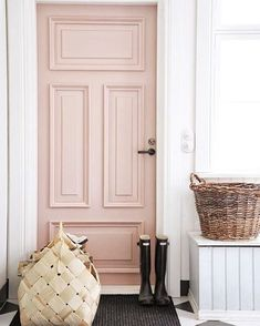 Came across this image and idea on the /ablissfulnest/ feed (not sure of credit) and am 100% considering painting the interior door in our breakfast nook this color before @recordingrev comes home and can stop me!  (At least I'm not buying another bunny this time right babe? ) The question is how to nail this PERFECT muted shade of blush/rose quartz so that it isn't abrasive! I'm terrible with paint colors! Can anyone help!? #interiors #pink #home #inspiration #interior