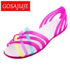 2d4f73c0c59 2017 summer european style flat hole shoes crystal jelly shoes fashion sexy  casual open toe sandals
