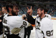 Kris Letang and Sidney Crosby celebrate winning the Stanley Cup June 12, 2016