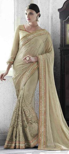 : Beige and Brown color family Embroidered Sarees,Party Wear Sarees