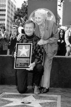 DeForest and Carolyn Kelley receiving Hollywood Walk of Fame star Star Trek Actors, Star Trek Characters, Star Trek Original Series, Star Trek Series, Star Trek Enterprise, Star Trek Quotes, Akira, Star Trek Crew, Star Trek Images