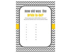 Chevron How old was the bride Bridal Shower Games, Printable Bridal Shower Games, Bridal Shower Game Prizes, gray, yellow