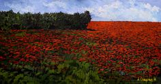 """Poppies"", 2014. Oil on Black Canvas. By Alexandr Onishenko; 45""high x 80""wide, framed"