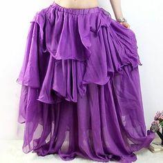 10 Color Chiffon 3 Layers Spiral Long Skirt Flamenco Belly Dance Costume | eBay