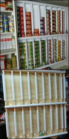 DIY Rotating Canned Food System How To Build A Rotating Canned Food System theownerbuilderne… If you need a great storage system for your pantry, then this project is for you! Could this be your next project to organize your pantry? - Own Kitchen Pantry Diy Storage Projects, Home Projects, Diy Projects Cans, Sewing Projects, Kitchen Organization, Organization Hacks, Food Pantry Organizing, Kitchen Can Storage Ideas, Cool Storage Ideas
