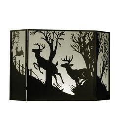 "62""W X 40""H Deer On The Loose Folding Metal Fireplace Screen"