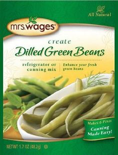 Mrs. Wages Dilled Green Beans Refridgerator or Canning Mix Recipe by Mrs. Wages. $9.17. 1.94 oz packages. Just make and store in refrigerator.. Ready to eat in 24 hours after preparation.. Boiling water bath method not required but may be used if not storing in refrigerator for this preparation.. Preparation slightly faster and easier than Quick Process pickles.. You expect high quality with Mrs. Wages products and these new dilled green beans are no exception. Each is made wi...