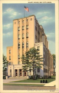 Vintage postcard of the Bay County Courthouse in Bay City, Michigan